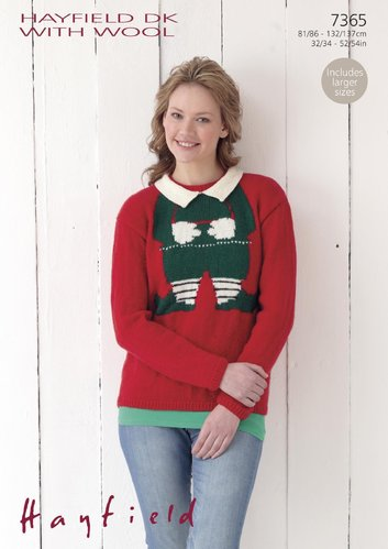Sirdar 7365 Knitting Pattern Womens Christmas Elf Sweater in Hayfield DK with Wool