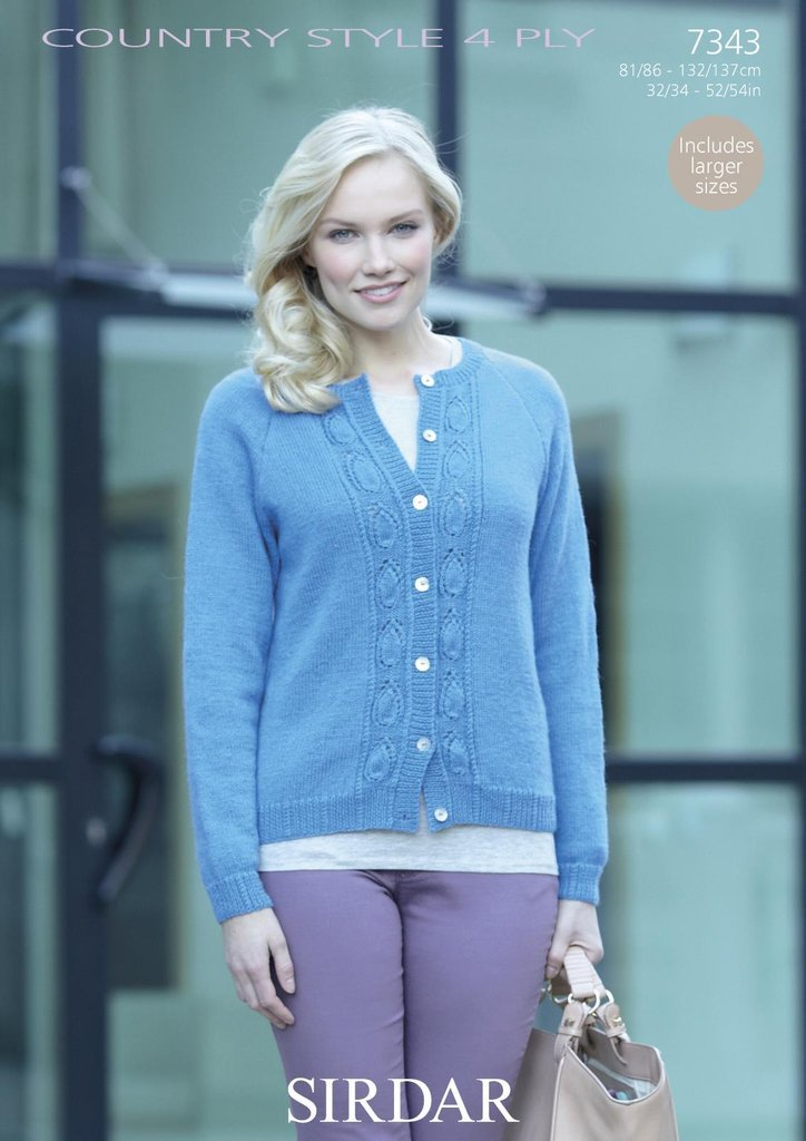 Sirdar 7343 Knitting Pattern Womens Cardigan With Leaf Pattern In
