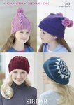 Sirdar 7349 Knitting Pattern Girls Womens Hats in Sirdar Country Style DK