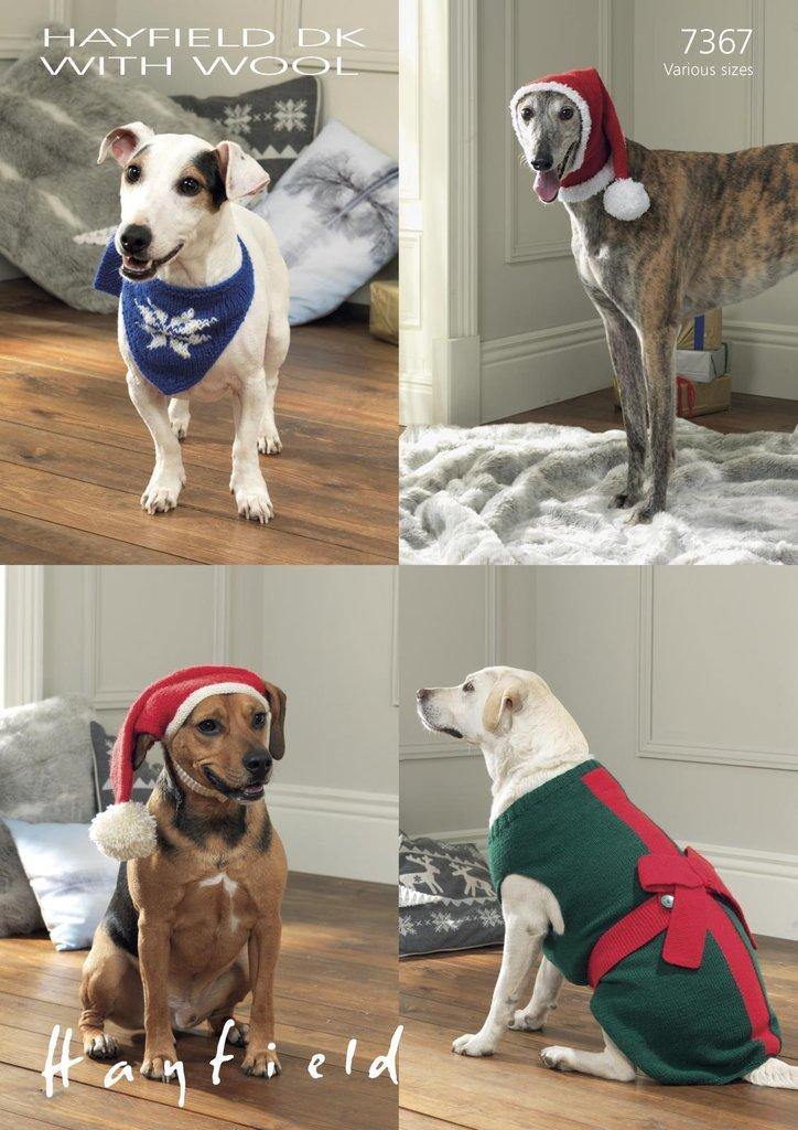 Sirdar 7367 Knitting Pattern Dog Christmas Hat Neckachief Hat And