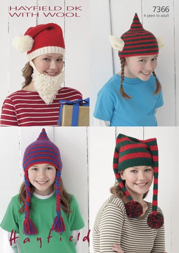 Sirdar 7366 Knitting Pattern Novelty Christmas Hats in Hayfield DK with Wool