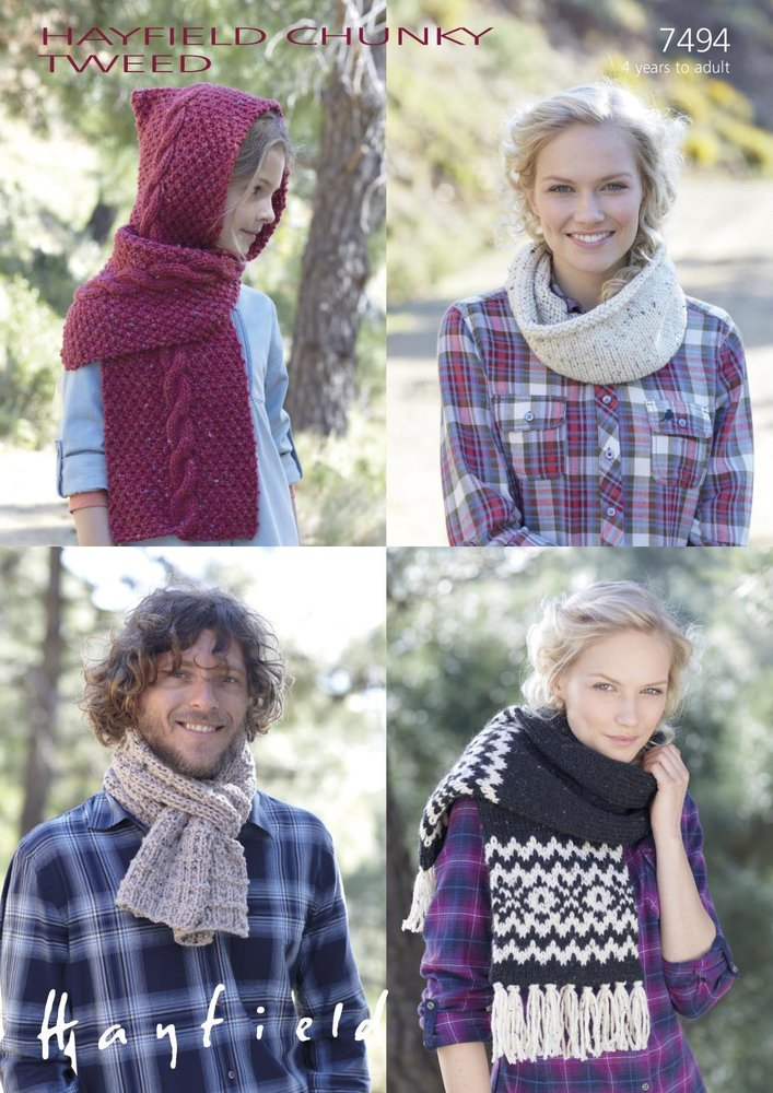 Sirdar 7494 Knitting Pattern Family Scarves and Snood in Hayfield ...