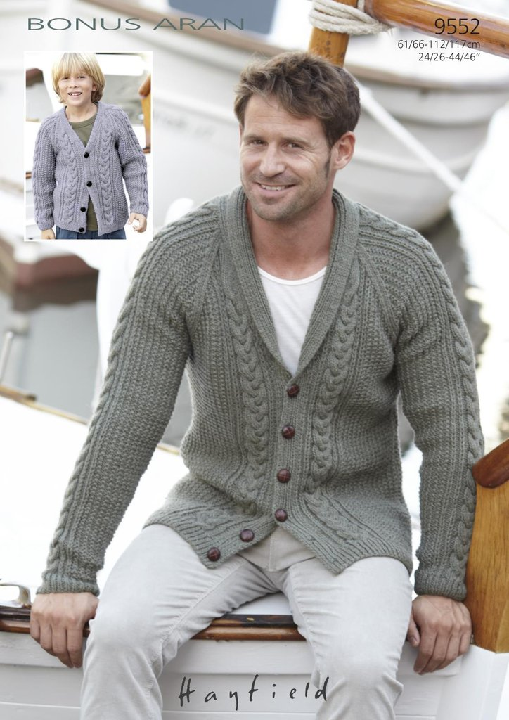 Sirdar 9552 Knitting Pattern Boys Mens Cardigans In