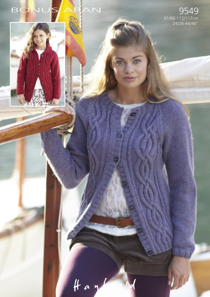 Sirdar 9549 Knitting Pattern Girls Womens Cable Jackets in