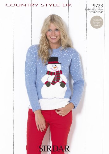 Sirdar 9723 Knitting Pattern Snowman Christmas Sweater in Sirdar Country Style DK