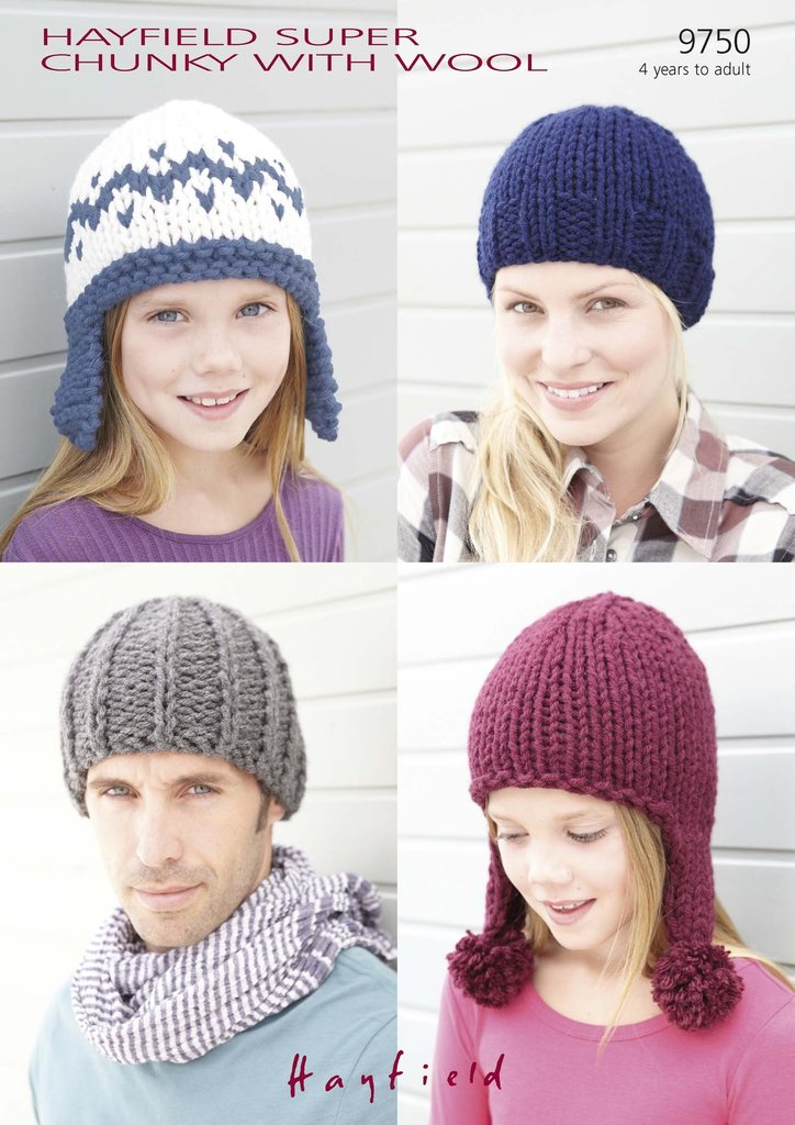 Sirdar 9750 Knitting Pattern Hats in Hayfield Super Chunky With Wool ...