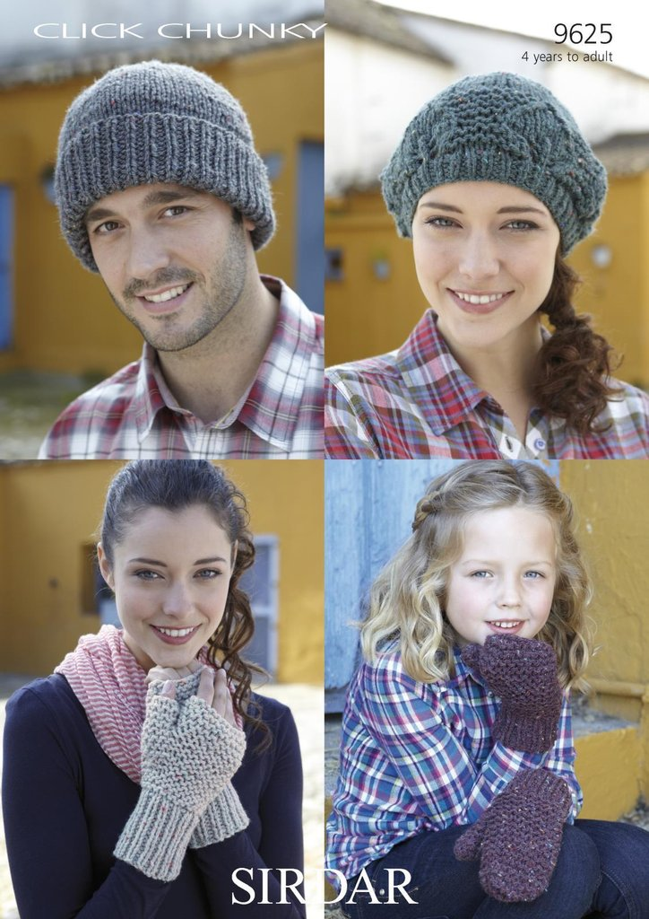 Sirdar 9625 Knitting Pattern Childrens and Adults Hats and Mittens in Sirdar ...