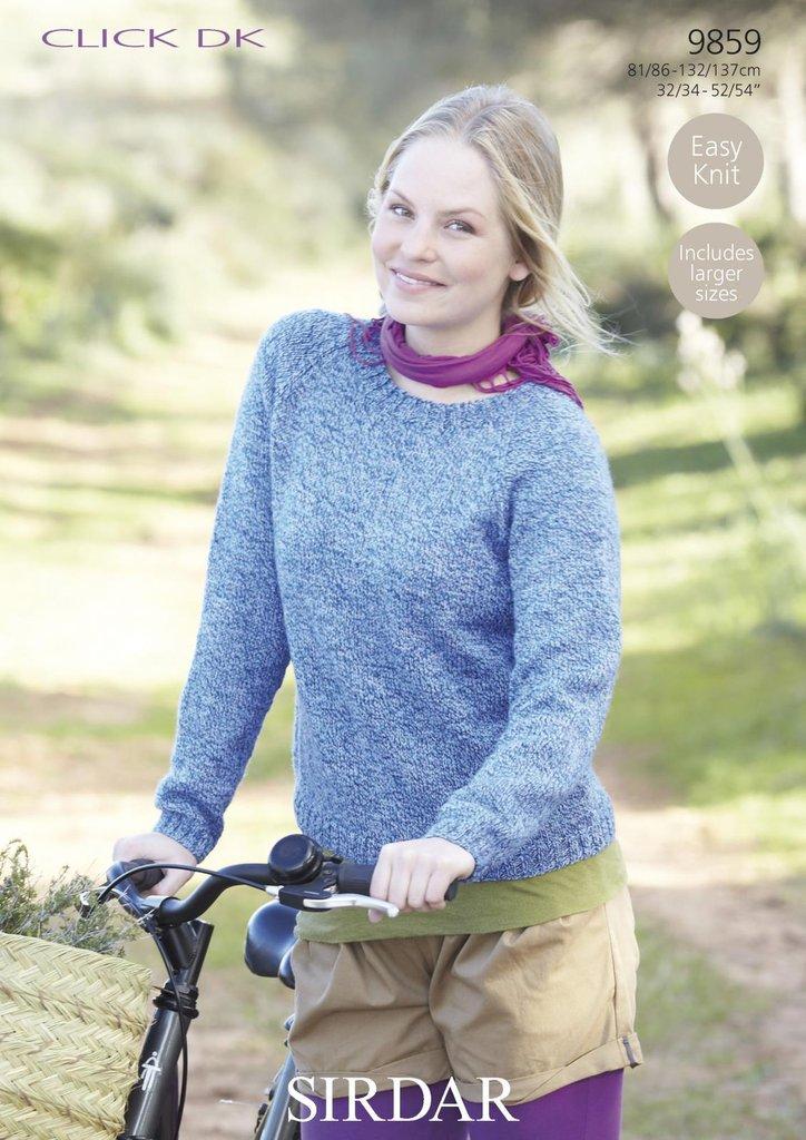 Ladies Raglan Jumper Knitting Pattern : Sirdar 9859 Knitting Pattern Womens Easy Knit Raglan Sweater in Sirdar Click ...