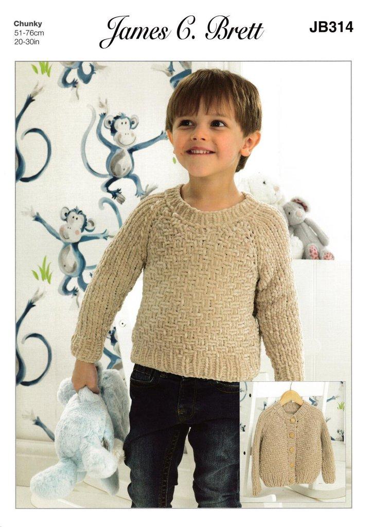James C Brett Jb314 Knitting Pattern Childrens Cardigan Sweater In