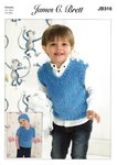 James C Brett JB316 Knitting Pattern Boys Sweater Hat and Tank Top in James C Brett Flutterby Chunky