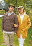 King Cole 4372 Knitting Pattern Sweater and Cardigan in King Cole Merino Blend DK