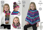 King Cole 4242 Knitting Pattern Poncho, Snood, Scarf and Hat in King Cole Big Value Chunky