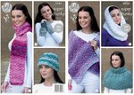 King Cole 4354 Knitting Pattern Scarf, Wrap, Snood, Polo Shoulder Cover, Hat and Wrist Warmers
