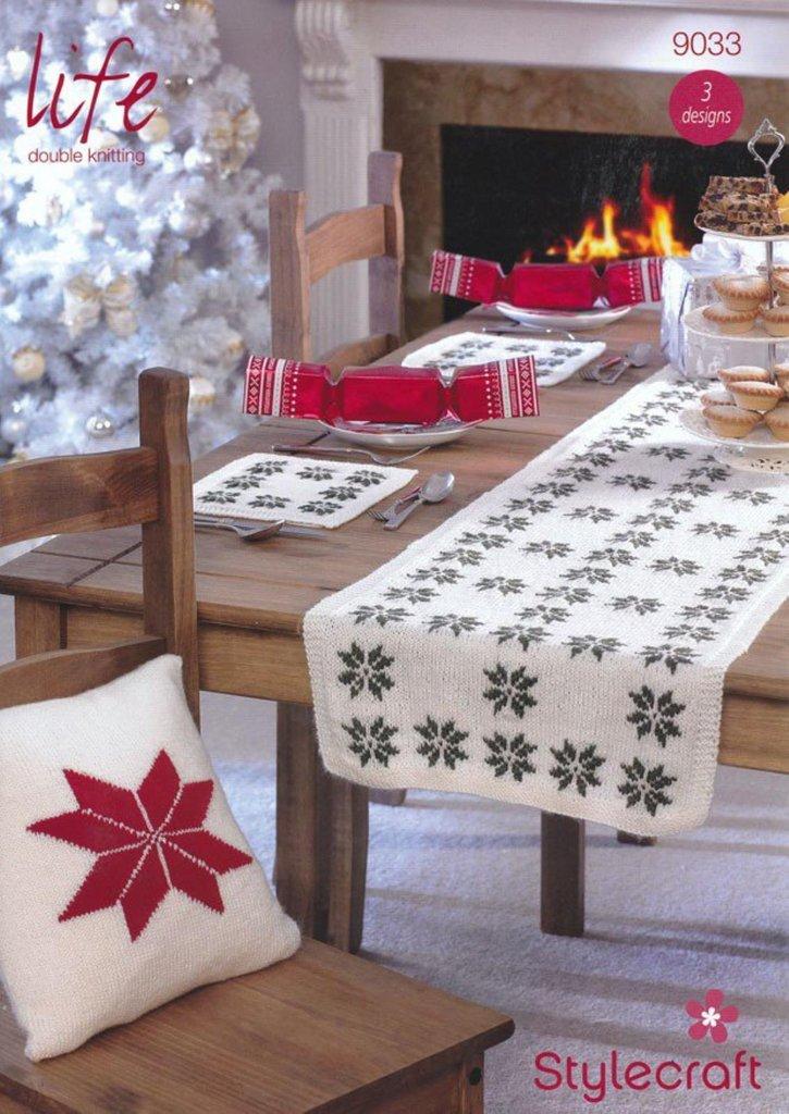 bedbcac7fa35 Stylecraft 9033 Knitting Pattern Christmas Cushions