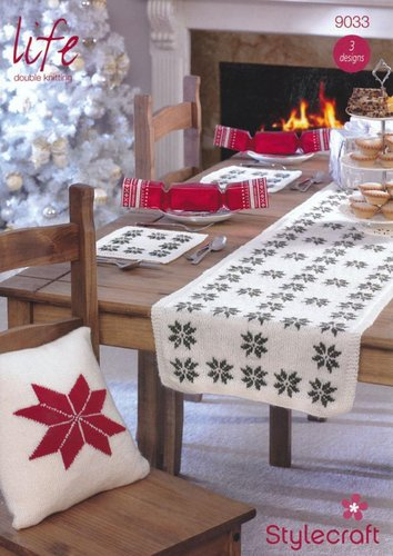 Stylecraft 9033 Knitting Pattern Christmas Cushions, Table Mats and Table Runner in Life DK