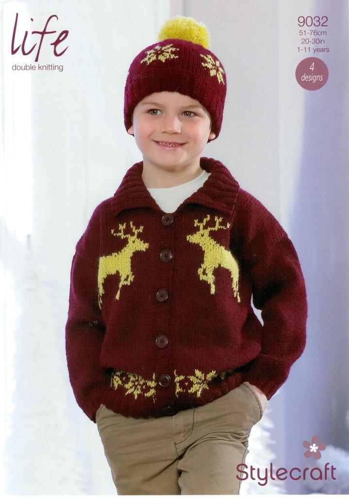 Stylecraft 9032 Knitting Pattern Boys Christmas Sweater And