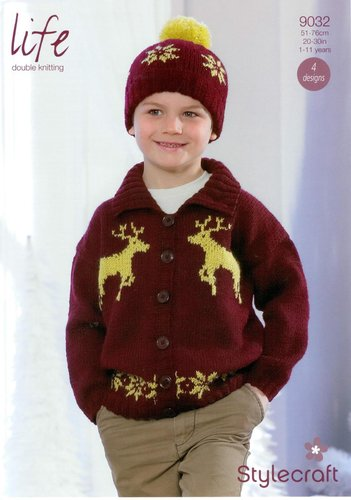 Stylecraft 9032 Knitting Pattern Boys Christmas Sweater and Accessories in Life DK