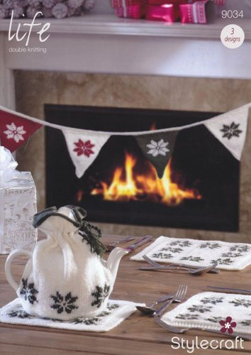 Stylecraft 9034 Knitting Pattern Christmas Tea Cosy, Table Mats and Bunting in Life DK
