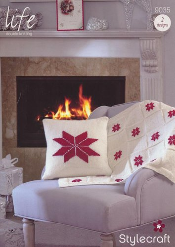 Stylecraft 9035 Knitting Pattern Christmas Cushions and Blankets in Life DK
