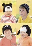Sirdar 4623 Knitting Pattern Panda, Penguin, Crossbones and Striped Hats in Snuggly Baby Bamboo DK