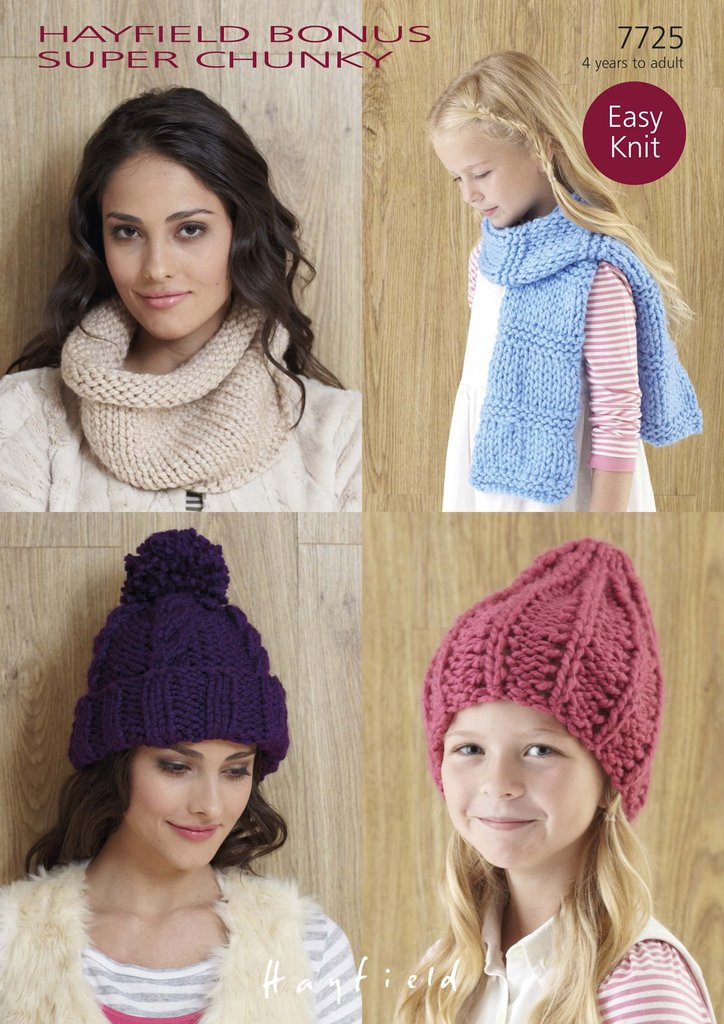Sirdar 7725 Knitting Patterns Hats, Snood and Scarf to knit in Hayfield  Bonus Super Chunky