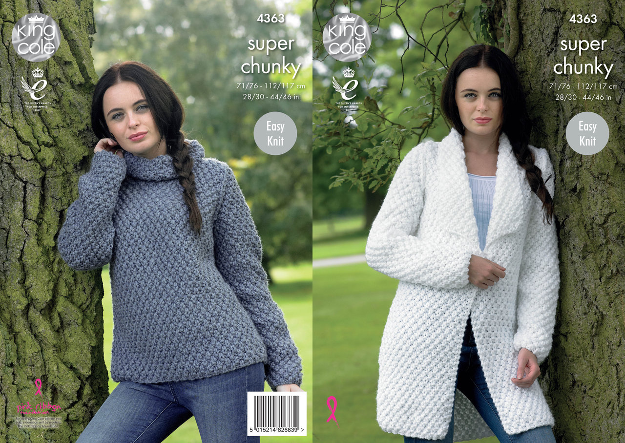 Super Chunky Jumper Knitting Pattern : King Cole 4363 Knitting Pattern Jacket and Sweater in Big Value Super Chunky ...