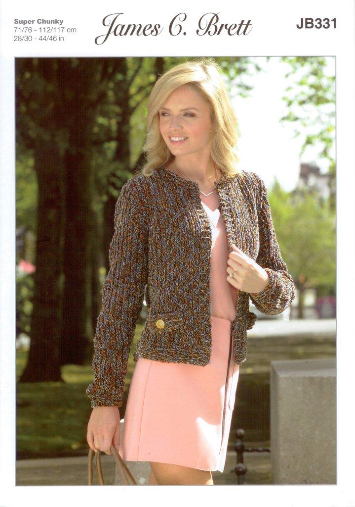James C Brett Jb331 Knitting Pattern Ladies Jacket In