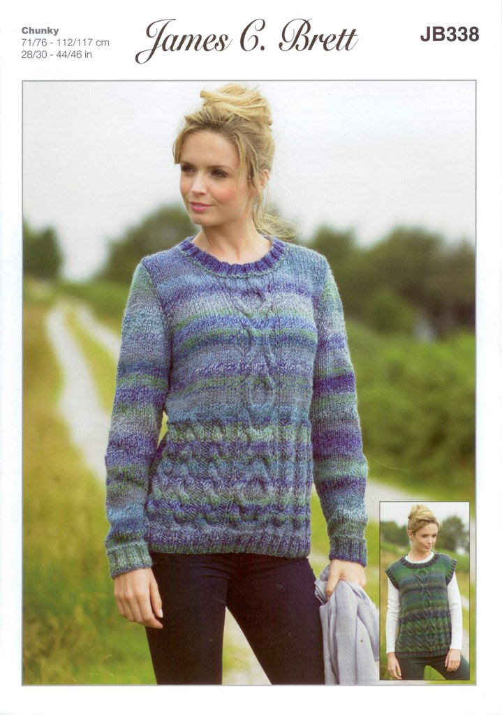 James C Brett Jb338 Knitting Pattern Sweater And Slipover