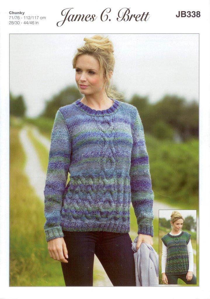 James C Brett Jb338 Knitting Pattern Sweater And Slipover
