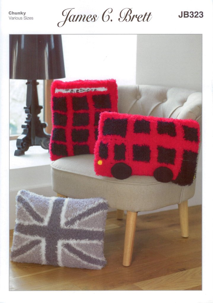James C Brett JB323 Knitting Pattern Union Jack, London Bus and Telephone Box...