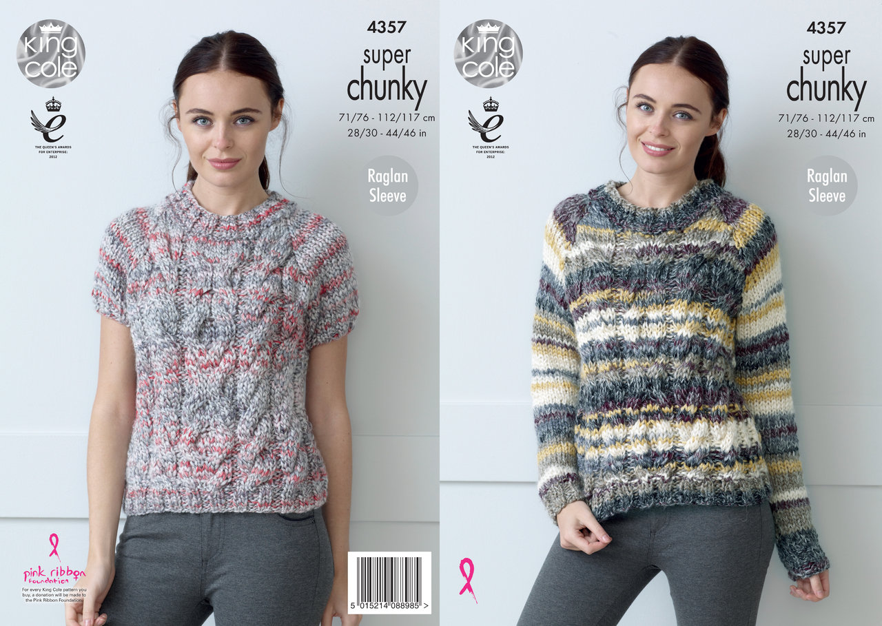 King Cole 4357 Knitting Pattern Raglan Sweater With Long