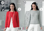 King Cole 4405 Knitting Pattern Sweater and Cardigan in King Cole Glitz Chunky