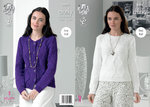 King Cole 4404 Knitting Pattern Sweater and Cardigan in King Cole Glitz Chunky