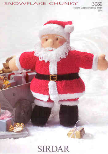 Sirdar 3080 Knitting Pattern Father Christmas Toy in Sirdar Snowflake Chunky