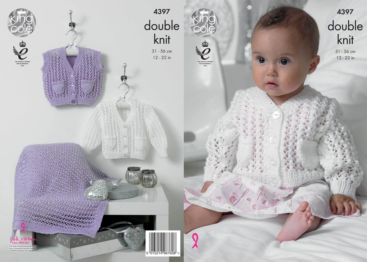 King Cole 4397 Knitting Pattern Cardigan, Waistcoat and Blanket in King Cole ...