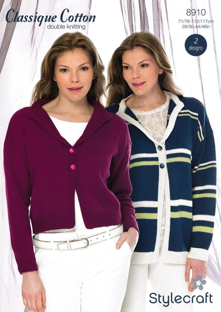 c4f5b86e5 stylecraft 8910 knitting pattern ladies cardigan jacket classique cotton dk.  ATHENBYS