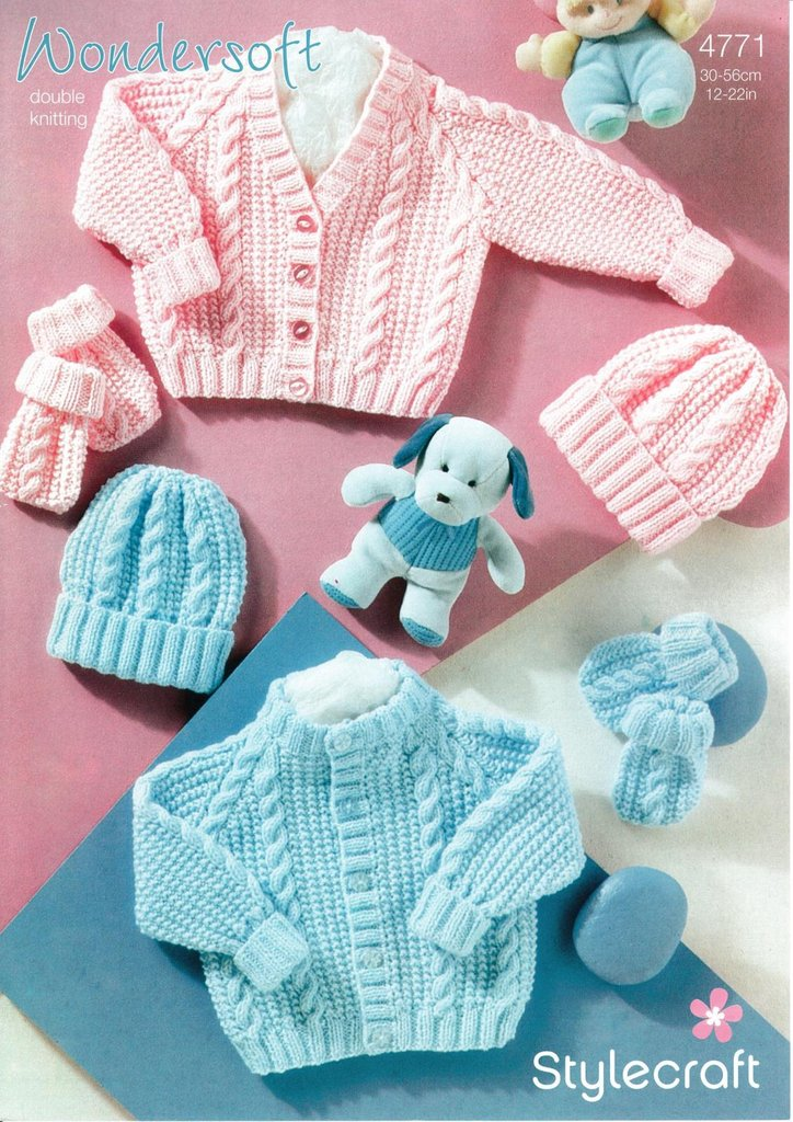 Stylecraft 4771 Knitting Pattern Babies Cardigan Hat and Mittens in  Wondersoft DK - Athenbys eb3758992a7