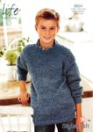 Stylecraft 8934 Knitting Pattern Round Neck Sweater in Stylecraft Life DK