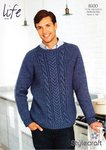 Stylecraft 8930 Knitting Pattern Men's Boy's Sweater in Life Aran