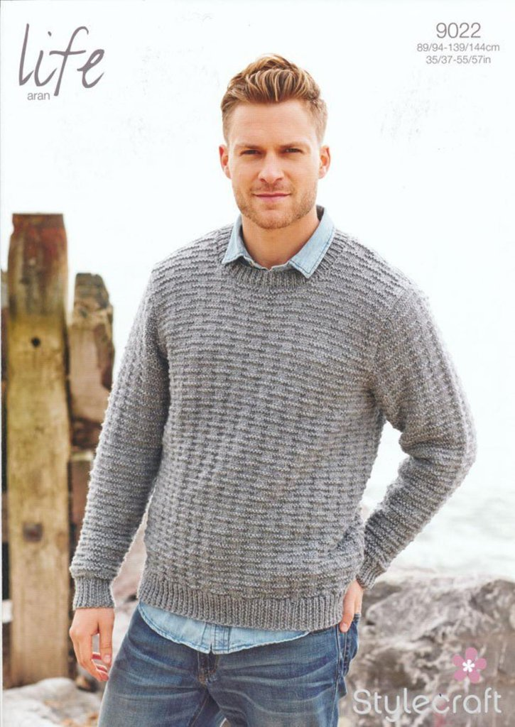 Sweater Knitting Pattern In The Round : Stylecraft 9022 Knitting Pattern Round Neck Sweater in Life Aran - Athenbys