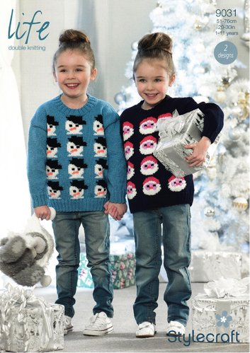 Stylecraft 9031 Knitting Pattern Childrens Christmas Sweater in Life DK