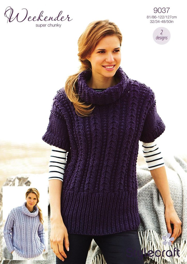 eb63467b73d0f4 Stylecraft 9037 Knitting Pattern Sweater and Tunic in Weekender Super Chunky  - Athenbys