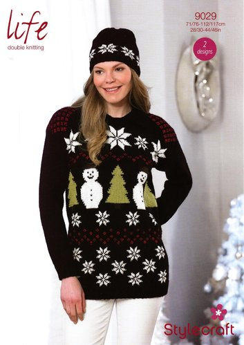 Stylecraft 9029 Knitting Pattern Ladies Christmas Sweater and Hat in Life DK