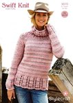 Stylecraft 9070 Knitting Pattern Ladies Sweater in Swift Knit Super Chunky