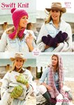 Stylecraft 9071 Knitting Pattern Ladies Scarf Mittens and Hat in Swift Knit Super Chunky