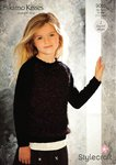 Stylecraft 9055 Knitting Pattern Girls Sweaters in Eskimo Kisses DK