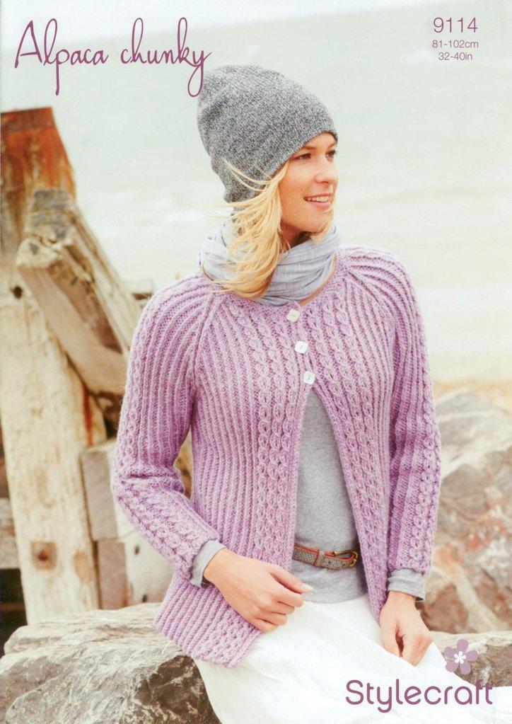 Knitting Patterns Alpaca Chunky : Stylecraft 9114 Knitting Pattern Ladies Cardigan in Alpaca ...