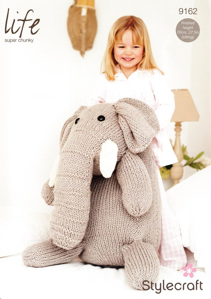 Stylecraft 9162 Knitting Pattern large Toy Elephant in Life Super Chunky - At...