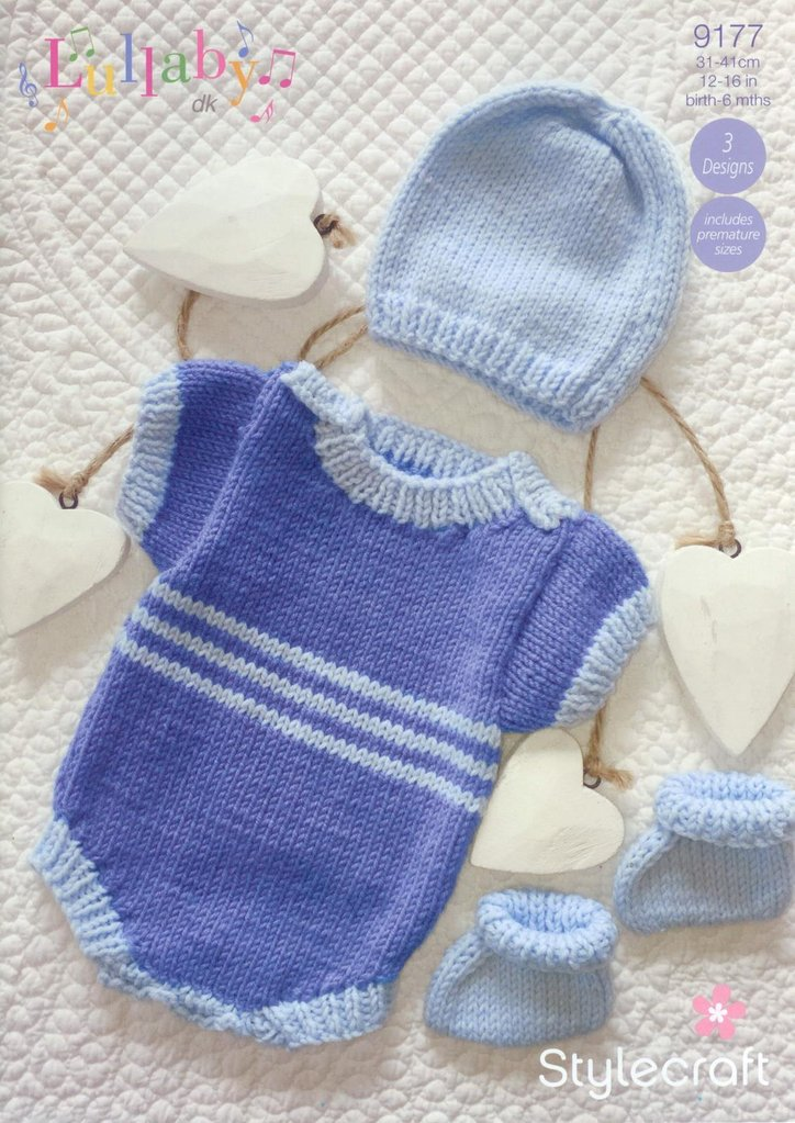 Stylecraft 9177 Knitting Pattern Baby Romper Hat and Booties in Lullaby DK - ...