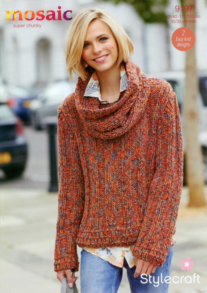 Stylecraft 9197 Knitting Pattern Wide Rib Sweater And Cowl In
